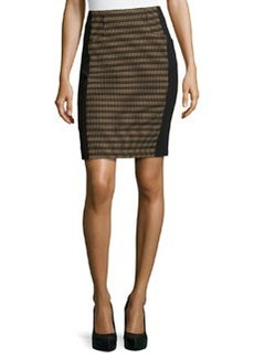 Nanette Lepore Oval-Jacquard Paneled Pencil Skirt, Camel/Black