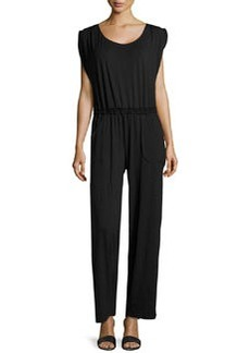 Max Studio Jersey Scoop-Neck Jumpsuit, Black