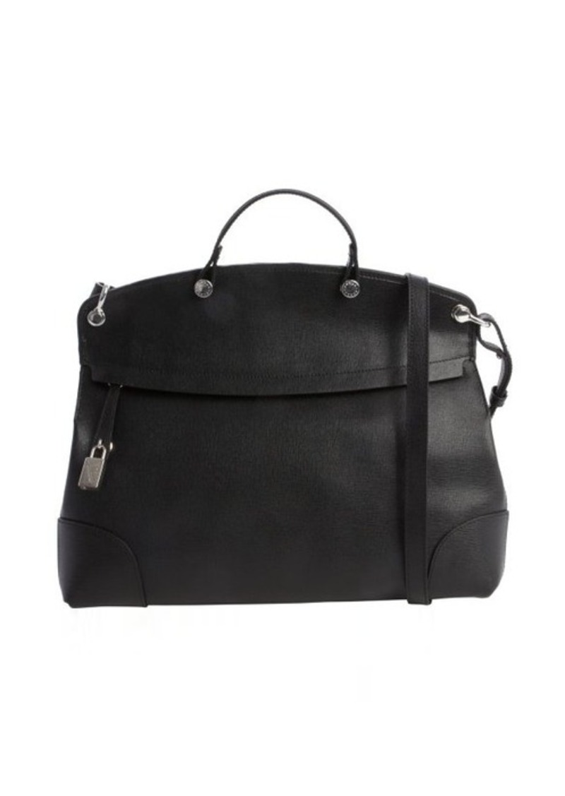 furla furla onyx black leather 39 piper 39 large convertible satchel handbags shop it to me. Black Bedroom Furniture Sets. Home Design Ideas