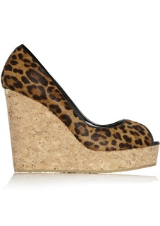 Jimmy Choo Papina leopard-print calf hair wedge sandals