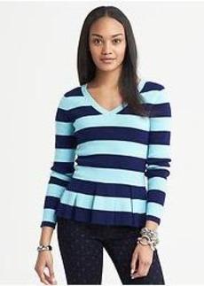 Striped Peplum Pullover