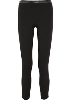 Diane von Furstenberg Lendra leather-paneled stretch-jersey skinny pants