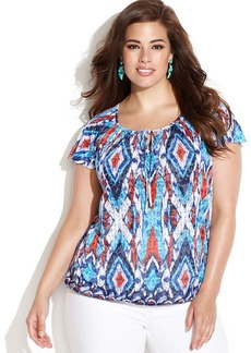 INC International Concepts Plus Size Printed Flutter-Sleeve Peasant Top