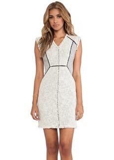Rebecca Taylor Zip Tweed Combo Dress in Ivory
