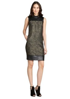 Lafayette 148 New York black faux leather cotton blend sleeveless dress