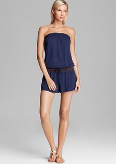 Lucky Brand Embroidered Romper Swim Cover Up