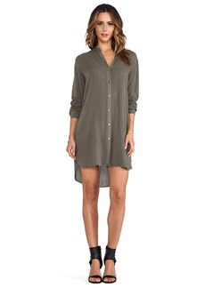 James Perse Collarless Shirt Dress in Army