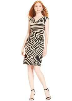 Tahari by ASL Cap-Sleeve Printed Draped Dress