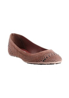 Jimmy Choo pink vintage perforated suede studded detail 'Welda' flats