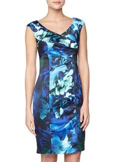 Kay Unger New York Floral-Print Satin Cocktail Dress, Blue Multi