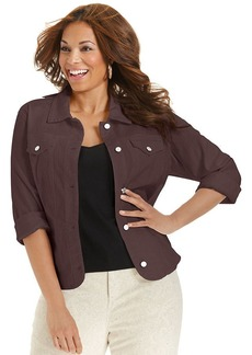 Charter Club Plus Size Denim Jacket, Rich Truffle Wash