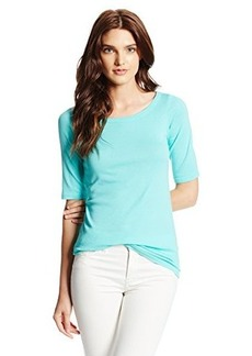 Michael Stars Women's Elbow Sleeve Wide Scoop Neck Tee Shirt