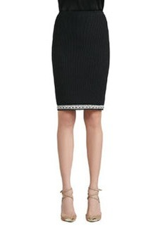 St. John Collection Grasse Tweed Knit Pencil Skirt with Crochet Trim