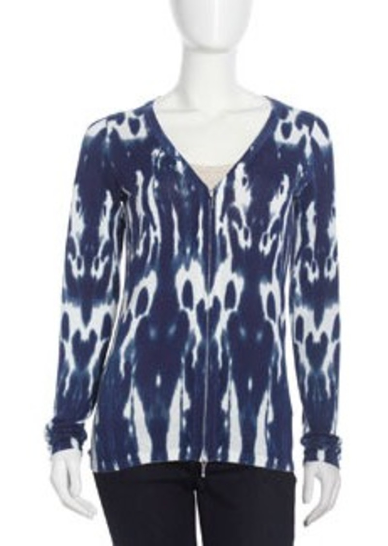 Isda & Co Tie-Dye Zip Cardigan, Blue