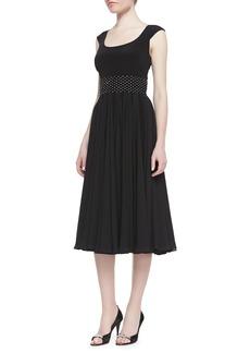 Kay Unger New York Cap-Sleeve Beaded-Waist Tea-Length Cocktail Dress, Black