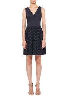 Akris punto V-Neck Dress with Pleated Lace Skirt, Navy