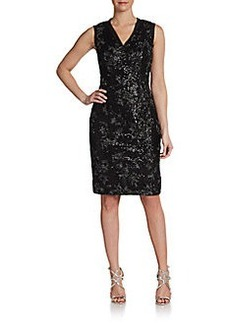 Carmen Marc Valvo Sleeveless Metallic-Embroidery Dress