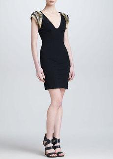 Roberto Cavalli Beaded-Shoulder V-Neck Sheath Dress