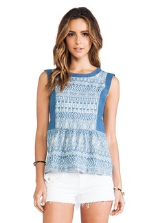 Ella Moss Paz Chambray Tank in Blue