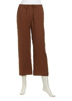 Lafayette 148 New York Cropped Linen Drawstring Pants, Coconut