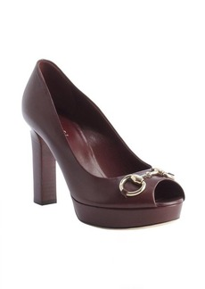 Gucci scarlet leather horsebit peep toe platform pumps