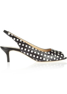 Oscar de la Renta Tipi printed snake-effect leather slingbacks