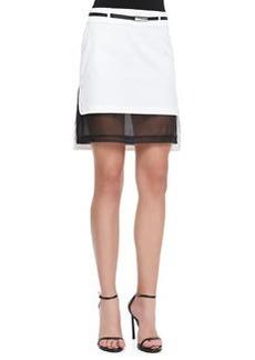 Robert Rodriguez Mesh-Hem Belted Skirt