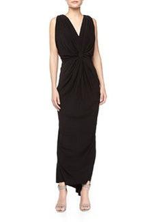 T Bags Knot-Front V Back Maxi Dress, Black