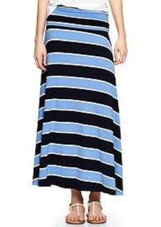 Stripe foldover maxi skirt