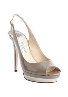 Jimmy Choo grey patent leather slingback 'Vertigo' platform pumps