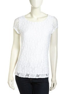 Laundry by Shelli Segal Floral Knit Keyhole-Back Top, Optic White