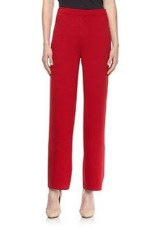 St. John Santana Knit  Stove-Cut Pull-On Pants, Deep Ruby