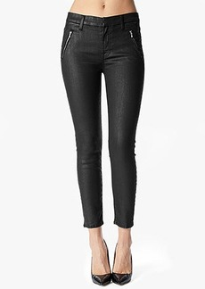 Zip Pocket Chino in Black Coated Jeather