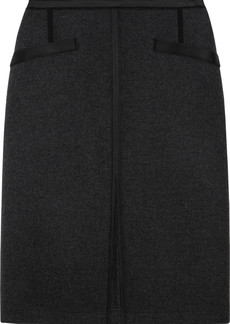 Bottega Veneta Satin-trimmed wool-blend fleece skirt