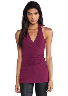 "Susana Monaco Wrap Halter 10"" Top in Wine"