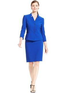 Tahari ASL Petite Textured Crepe Skirt Suit