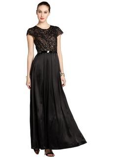A.B.S. by Allen Schwartz black cap sleeve sequin top gown