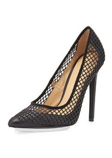 L.A.M.B. Sandy Mesh Point-Toe Pump, Black