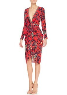 Etro Plunging Maui Floral Dress with Long Sleeves, Red