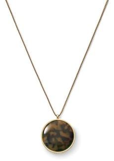 """Michael Kors Tortoise Acetate Pave Disc Necklace, 28"""""""
