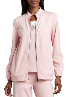 Joan Vass Interlock Zip Jacket, Women's