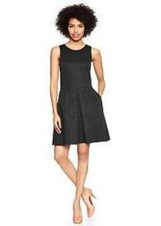 Sleeveless sateen fit & flare dress