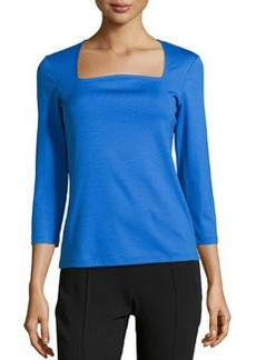 Lafayette 148 New York Curved Portrait-Neck Tee, Azurite