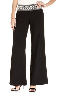 XOXO Embroidered Waistband Palazzo Pants