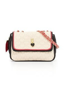 Betsey Johnson Be My Everything Quilted Faux-Leather Shoulder Bag, Cream/Black/Fuchsia