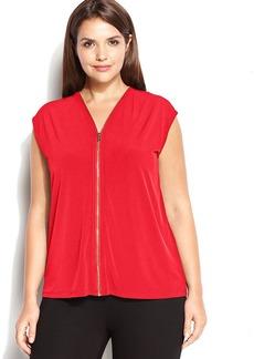 Calvin Klein Plus Size Sleeveless Zip-Front Blouse