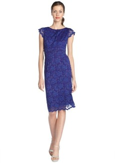 A.B.S. by Allen Schwartz violet stretch lace overlay cap sleeve dress