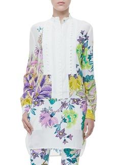 Roberto Cavalli Button-Front Drop-Waist Floral-Print Tunic