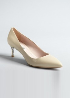 Miu Miu warm ivory patent leather glittered sole point toe pumps