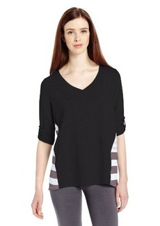 Calvin Klein Performance Women's 3/4 Roll Tab Sleeve with Stripe Woven Back